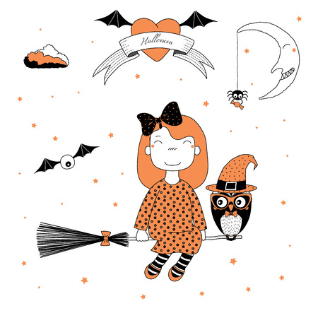 Hand drawn vector illustration of a funny cartoon witch girl with a bow, flying on a broomstick with an owl in a hat, with text on a ribbon, heart, moon and stars. Design concept kids, Halloween.