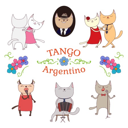 bandoneon: Hand drawn vector illustration argentine tango design elements - funny cats dancing and singing , playing bandoneon, traditional Buenos Aires fileteado ornaments. Isolated objects on white background.