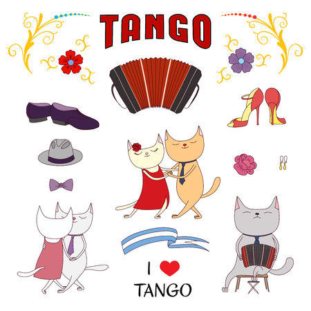 Hand drawn vector illustration with funny cute cats in a milonga, dancing and singing argentine tango, playing bandoneon. Isolated objects on white background. Design concept for social dance, tango. Çizim