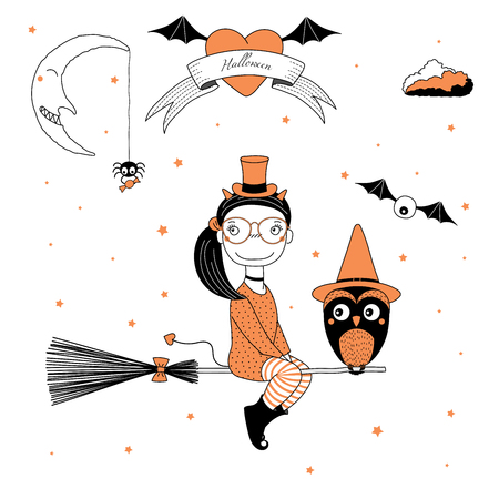 Hand drawn vector illustration of a funny cartoon witch girl with horns and tail, flying on a broomstick with an owl, with text on a ribbon, heart, moon and stars. Design concept kids, Halloween. Illustration