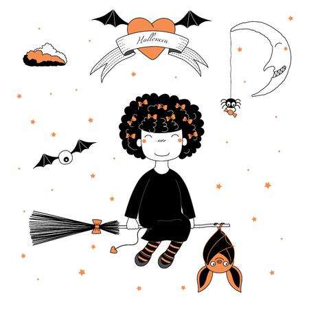 ふくらんで髪、リボン、ハート、月と星にテキストでハンギング バットでほうきで飛んで面白い漫画魔女娘の手描きベクトル イラスト。ハロウィー  イラスト・ベクター素材