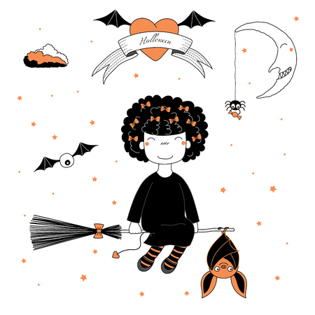 Hand drawn vector illustration of a funny cartoon witch girl with puffy hair, flying on a broomstick with a hanging bat, with text on a ribbon, heart, moon and stars. Design concept kids, Halloween.