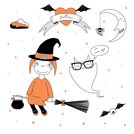 Hand drawn vector illustration of a funny cartoon witch girl in a hat, flying on a broomstick, and a ghost saying Meow (Nya) in Japanese, with text, heart, moon, stars. Design concept kids, Halloween.