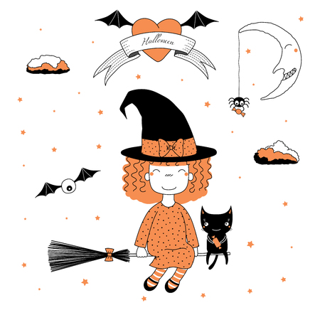 Hand drawn vector illustration of a funny cartoon witch girl with bows, flying on a broomstick with a cat holding candy, with text on a ribbon, heart, moon and stars. Design concept kids, Halloween.