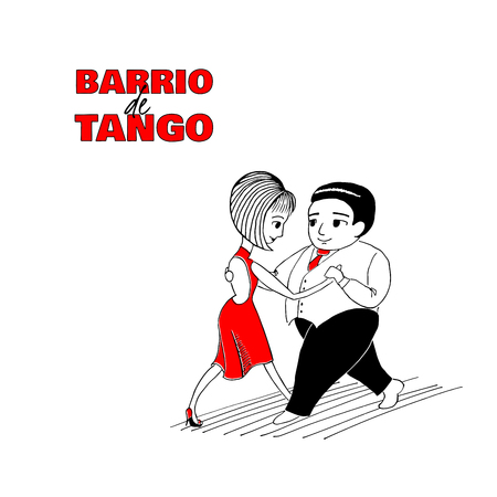 Hand drawn minimalist illustration of a funny dancing couple with Spanish text Barrio de tango, meaning Tango district. Design concept for poster, postcard, milonga, festival or school promo materials
