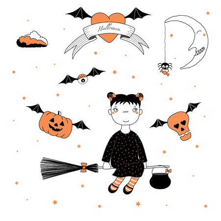 Hand drawn vector illustration of a funny cartoon witch girl with bows, flying on a broomstick, pumpkin and skull on bat wings, text on a ribbon, heart, moon and stars. Design concept kids, Halloween. Illustration