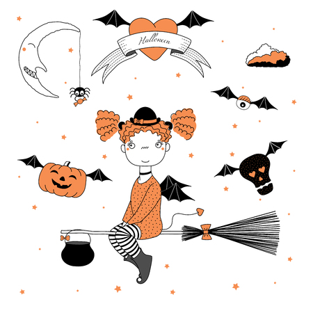 Hand drawn vector illustration of a funny cartoon witch girl in a bowler hat, flying on a broomstick, pumpkin and skull on bat wings, text on ribbon, heart, moon, stars. Design concept kids, Halloween