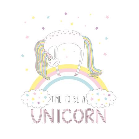 Hand getrokken vectorillustratie van een leuke grappige eenhoorn op de regenboog, met tekst Tijd om een eenhoorn te zijn. Geïsoleerde objecten op witte achtergrond met sterren. Ontwerpconcept voor kinderen.