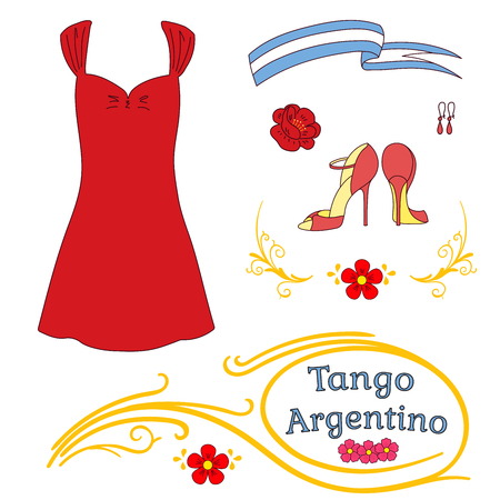 Hand drawn vector illustration argentine tango design elements - women dancing shoes and clothes, earrings, flower, traditional Buenos Aires fileteado ornaments. Isolated objects on white background. Illustration