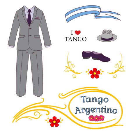 アルゼンチン タンゴ デザイン要素の描画ベクトル図を手 - ダンスの靴、帽子、スーツの男性は、伝統的なブエノスアイレス fileteado 装飾。白い背景  イラスト・ベクター素材