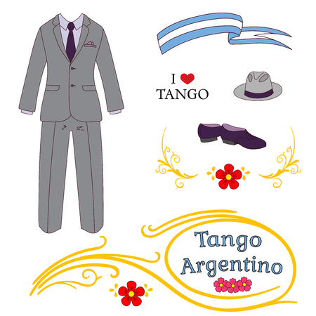 Hand drawn vector illustration with argentine tango design elements - men dancing shoes, hat, suit, traditional Buenos Aires fileteado ornaments. Isolated objects on white background. Concept dance.