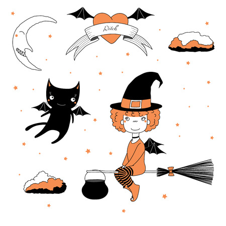 Hand drawn vector illustration of a funny cartoon witch girl in a hat, flying on a broomstick, and a cat with bat wings, with text on a ribbon, heart, moon and stars. Design concept kids, Halloween.