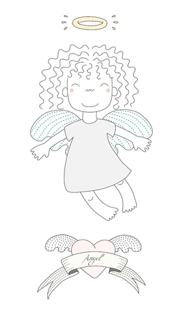 Hand drawn vector illustration of a cute little angel girl with curly hair and halo, flying, winged heart and text Angel on a ribbon. Isolated objects on white background. Design concept for kids.