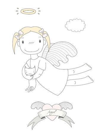 Hand drawn vector illustration of a cute little angel girl with halo, holding kitten, with winged heart and text Angel on a ribbon. Isolated objects on white background. Design concept for children. Illustration