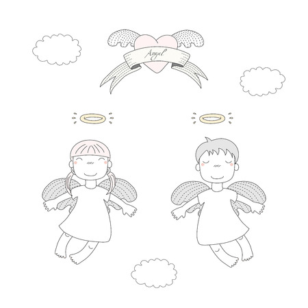 Hand drawn vector illustration of two cute little angel girls with different hair, flying, winged heart and text Angel on a ribbon. Isolated objects on white background. Design concept for children.