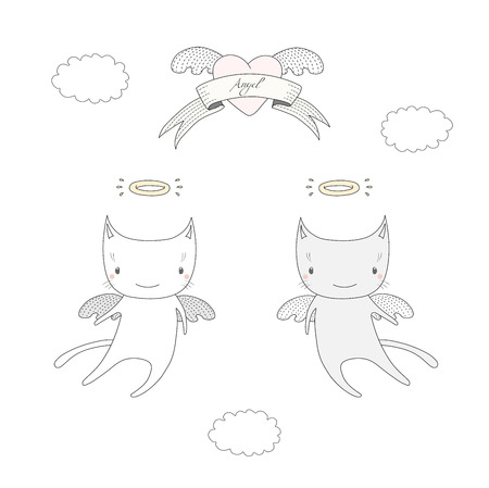 Hand drawn vector illustration of two cute angel cats with halo, flying in the sky, with winged heart and text Angel on a ribbon. Isolated objects on white background. Design concept for children.