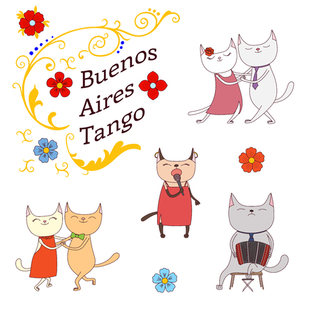 Hand drawn vector illustration argentine tango design elements - funny cats dancing and singing , playing bandoneon, traditional Buenos Aires fileteado ornaments. Isolated objects on white background. Stock Vector - 88890813