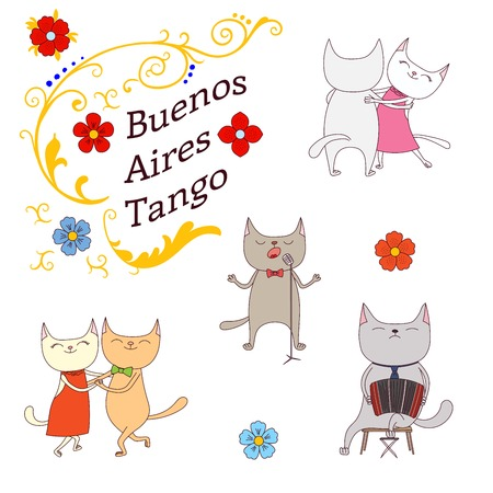 Hand drawn vector illustration argentine tango design elements - funny cats dancing and singing , playing bandoneon, traditional Buenos Aires fileteado ornaments. Isolated objects on white background. Stock Vector - 88890814