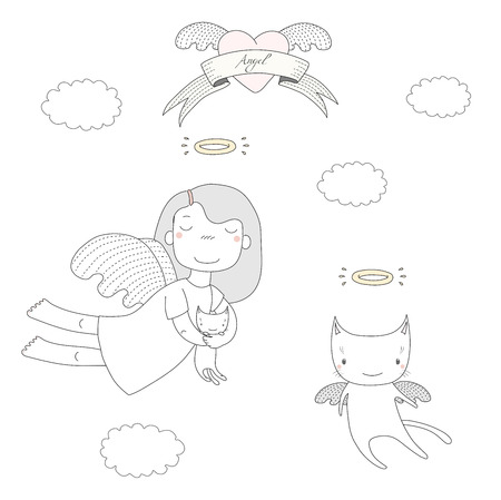 Hand drawn vector illustration of a cute little angel girl, holding kitten, and angel cat, flying, with heart and text Angel on a ribbon. Isolated objects on white background. Design concept for kids.