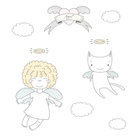 手には、かわいい小さな天使女の子ふわふわの髪と飛んでいる天使猫、ハートとリボンの本文天使のベクトル イラストが描かれました。白い背景の  イラスト・ベクター素材