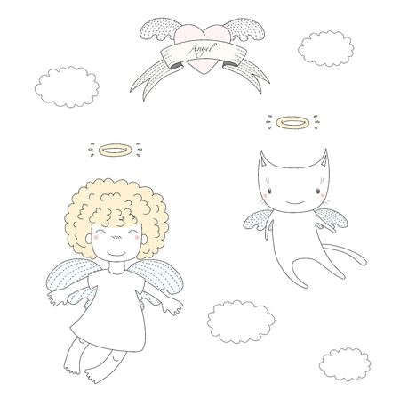 Hand drawn vector illustration of a cute little angel girl with puffy hair and angel cat, flying, with heart and text Angel on a ribbon. Isolated objects on white background. Design concept for kids.