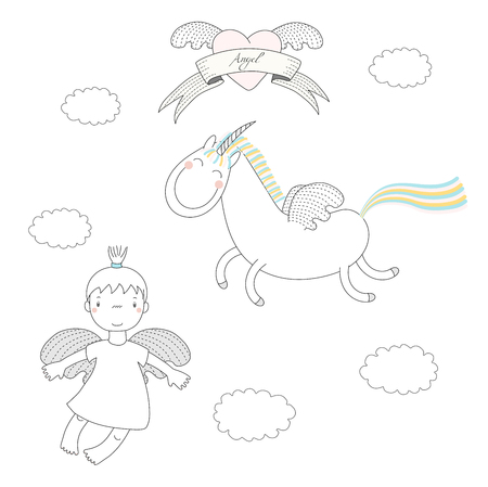 Hand drawn vector illustration of a cute little angel girl and unicorn with wings, flying, with winged heart and text Angel on a ribbon. Isolated objects on white background. Design concept for kids. Illustration