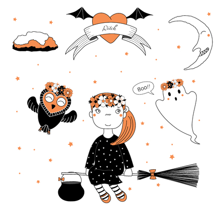 Hand drawn vector illustration of a funny cute cartoon witch girl, flying on a broomstick, owl and ghost in flower chains, text on a ribbon, heart, moon and stars. Design concept kids, Halloween.