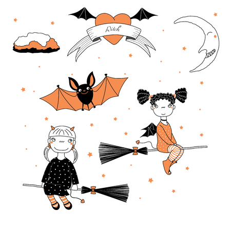 Hand drawn vector illustration of a funny cute cartoon witch girls with pig tails, horns, wings, flying on broomsticks, bat, text on a ribbon, heart, moon and stars. Design concept kids, Halloween.
