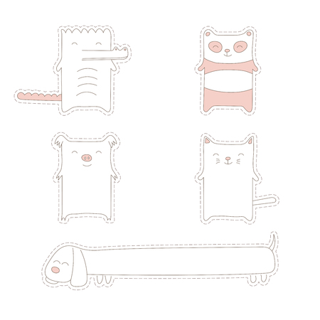 Collection of hand drawn simple vector doodle stickers of cute and funny cartoon animals - panda, cat, crocodile, pig and long dog. Isolated objects on white background. Design concept for children.