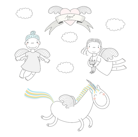 Hand drawn vector illustration of two cute little angel girls, one holding  kitten, and unicorn, winged heart and text Angel on a ribbon. Isolated objects on white background. Design concept for kids. Illustration