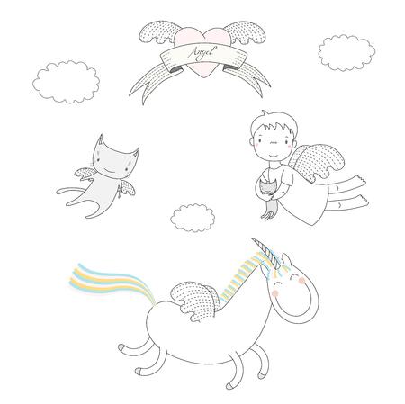 かわいい天使の女の子、猫、ハートとリボン上のテキスト天使子猫、翼と天使とユニコーンを保持の描画ベクトル イラストを手します。白い背景の