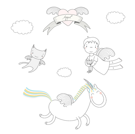 Hand drawn vector illustration of a cute angel girl, holding kitten, unicorn with wings and angel cat, heart and text Angel on a ribbon. Isolated objects on white background. Design concept for kids. Ilustração