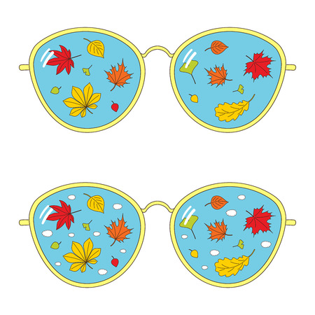 Hand drawn vector illustration of thin rim glasses with autumn leaves and clouds reflected inside the lenses. Isolated objects on white background. Design concept for change of seasons.