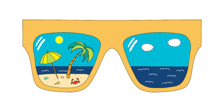 Hand drawn vector illustration of big framed glasses with beach scene reflected inside the lenses. Isolated objects on white background. Design concept for change of seasons. Иллюстрация