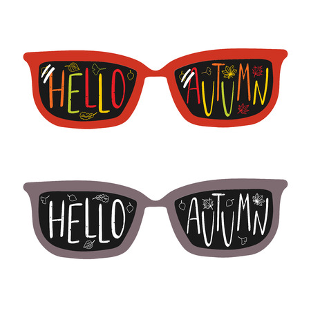 Hand drawn vector illustration of vintage glasses, with text Hello Autumn written inside the lenses. Isolated objects on white background. Design concept for change of seasons. Illustration