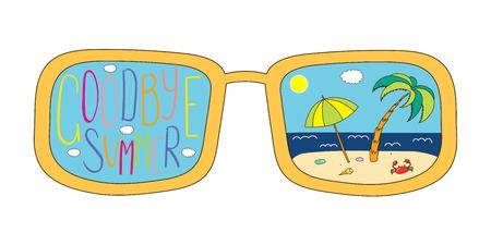 Bergeben Sie gezogene Vektorillustration von übergroßen Gläsern, mit Text Auf Wiedersehen Sommer- und Strandszene innerhalb der Objektive. Lokalisierte Gegenstände auf weißem Hintergrund. Design-Konzept für den Wechsel der Jahreszeiten. Standard-Bild - 88890848