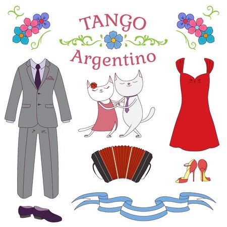 Hand getekend vector illustratie Argentijnse tango ontwerpelementen - bandoneon, schattige dansende katten, schoenen en kleding, traditionele Buenos Aires fileteado ornamenten. Geïsoleerde objecten op witte achtergrond.