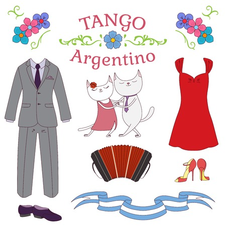 Hand drawn vector illustration argentine tango design elements - bandoneon, cute dancing cats, shoes and clothes, traditional Buenos Aires fileteado ornaments. Isolated objects on white background.