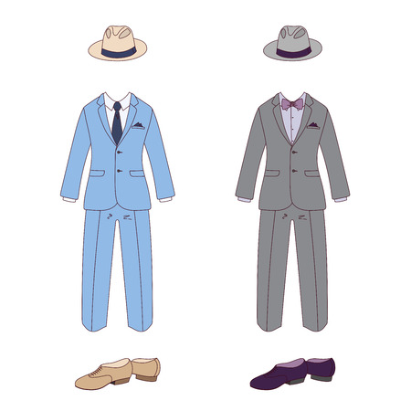 Hand drawn vector illustration of elegant men clothes: classic suits, in blue and gray, with bow tie and neck tie, shoes and fedora hats. Isolated objects on white background. Design concept fashion.