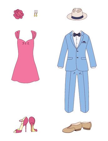 우아한 남자와 여자 옷의 손으로 그린 된 벡터 그림 : 나비 넥타이, 민소매 드레스, 신발, 귀걸이, 꽃, 모자와 고전적인 맞게. 흰색 배경에 고립 된 개체