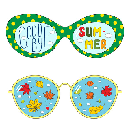 Hand drawn vector illustration of different glasses, with text Goodbye Summer, autumn leaves inside the lenses. Isolated objects on white background. Design concept for change of seasons. Illustration