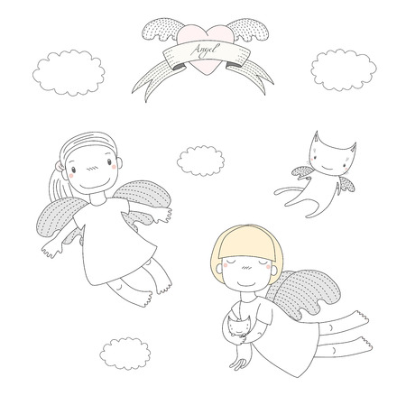 Hand drawn vector illustration of two cute little angel girls, one holding kitten, and angel cat, heart and text Angel on a ribbon. Isolated objects on white background. Design concept for children. Stock Vector - 88890867