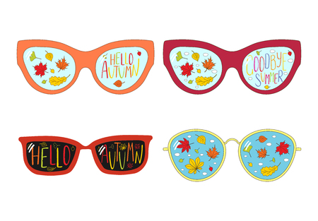 Hand drawn vector illustration of glasses, with text Goodbye Summer, Hello Autumn, leaves and clouds inside the lenses. Isolated objects on white background. Design concept for change of seasons. Illustration
