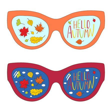 Hand drawn vector illustration of vintage glasses, with text Hello Autumn, autumn leaves and clouds inside the lenses. Isolated objects on white background. Design concept for change of seasons. Ilustração