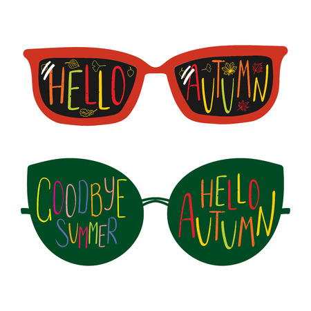 Hand drawn vector illustration of different sun glasses, with text Goodbye Summer, Hello Autumn written inside the lenses. Isolated objects on white background. Design concept for change of seasons.