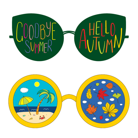 Hand drawn vector illustration of glasses, with text Goodbye Summer, Hello Autumn, beach scene and leaves inside the lenses. Isolated objects on white background. Design concept for change of seasons. Illustration
