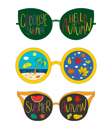 Hand drawn vector illustration of glasses, with text Goodbye Summer, Hello Autumn, beach scene and leaves inside the lenses. Isolated objects on white background. Design concept for change of seasons. Ilustrace
