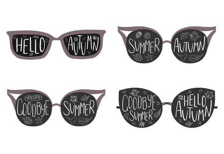 Hand drawn vector illustration of sun glasses, with text Goodbye Summer, Hello Autumn, starfish, leaves inside the lenses. Isolated objects on white background. Design concept for change of seasons.