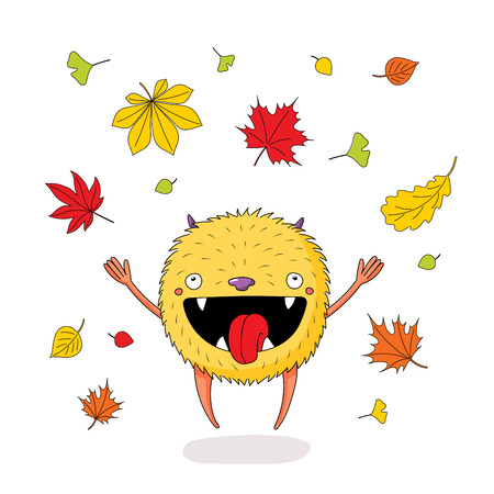 Hand drawn vector illustration of a cute little monster jumping happily among the falling colourful autumn leaves. Isolated objects on white background. Design concept for children, change of seasons. Ilustração