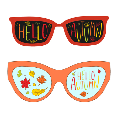momiji: Hand drawn vector illustration of vintage glasses, with text Hello Autumn, falling leaves and clouds inside the lenses. Isolated objects on white background. Design concept for change of seasons.